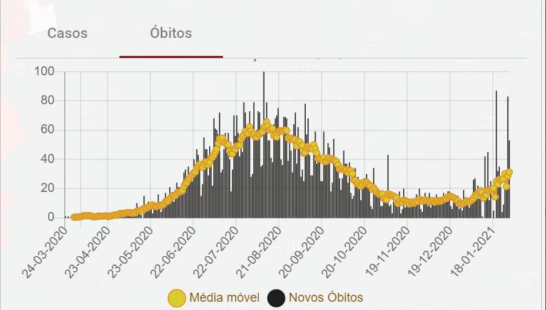 Estatística de óbitos com a covid-19 em Goiás até 30 de janeiro de 2021)